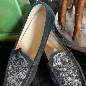 Sesto Meucci Loafers. Suede with sequins.